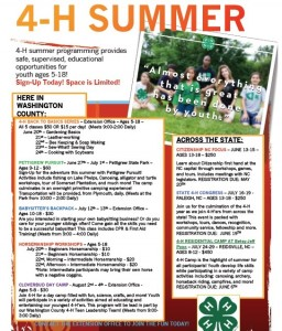 Cover photo for 4-H Summer 2016 - Sign-Up Today!