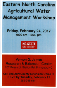 Cover photo for Eastern N.C. Agricultural Water Management Workshop