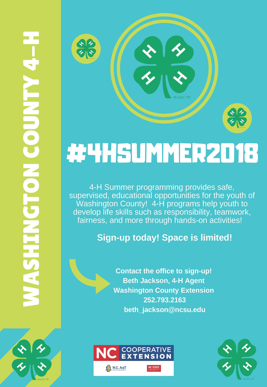 4-H Summer Schedule flyer image
