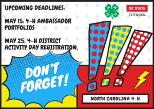 Cover photo for Upcoming Deadlines:  Ambassador Portfolios & District 4-H Presentations