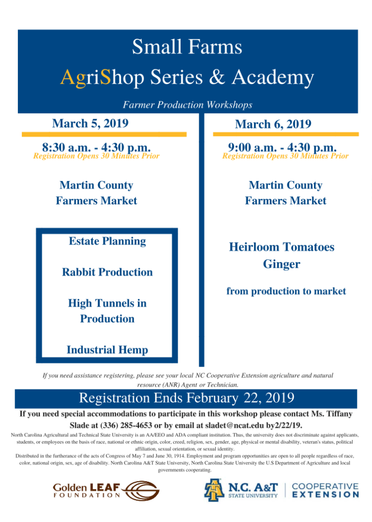 Small Farms AgriShop Series & Academy flyer image