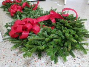 Holiday Greenery with a Red Bow
