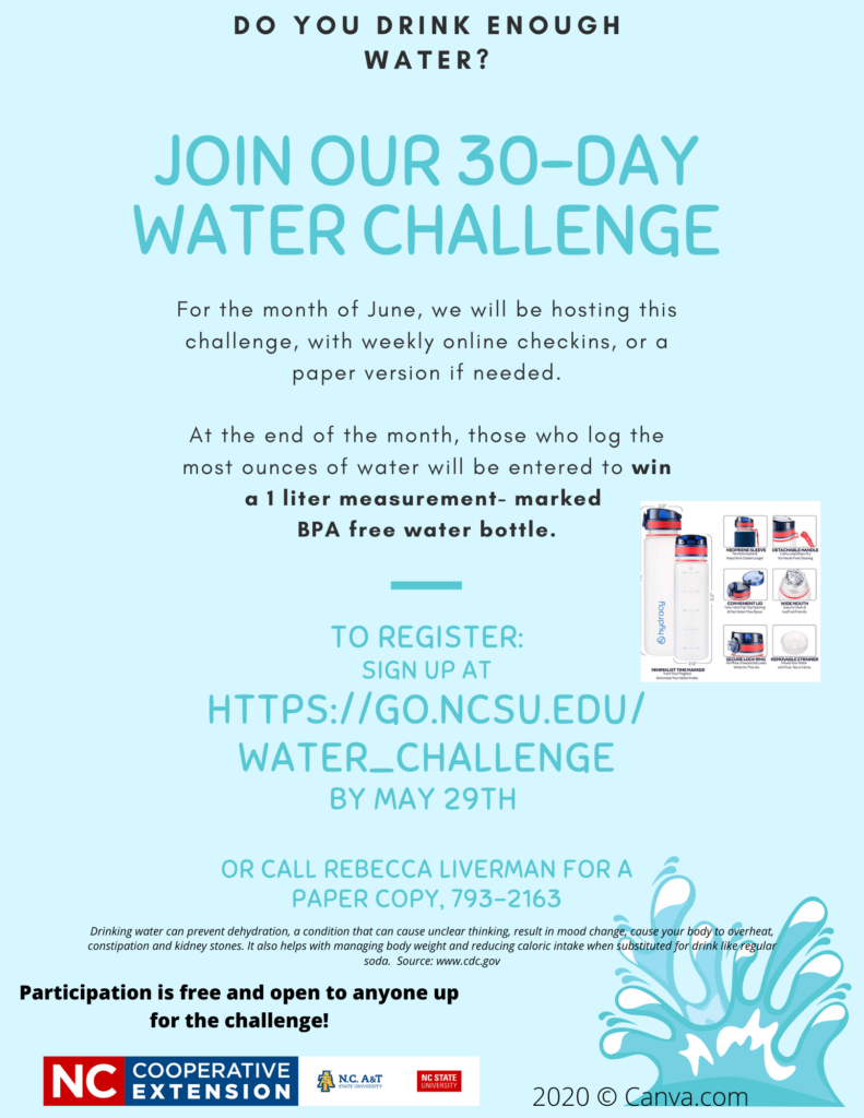 Water Challenge Flyer with Picture of water bottles