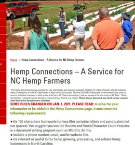 screenshot of the Hemp Connections webpage