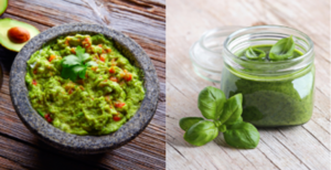 Fresh guacamole and fresh pesto, green basil leaves