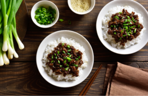 Ground beef bowls with fresh green onions