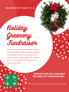 Bright Red Flyer with Greenery Wreath and Green 4-H Clover